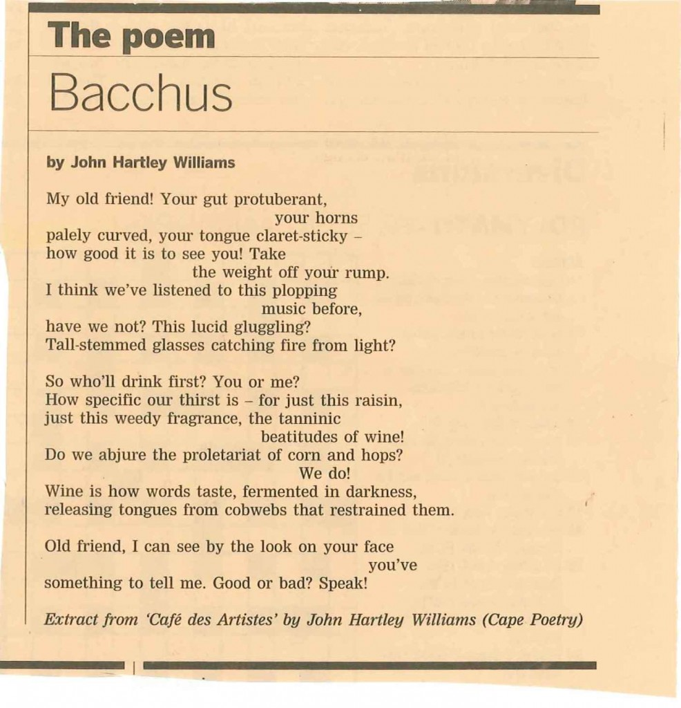 Bacchus, extract of poem by John Hartley Williams